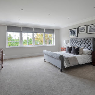 Traditional bedroom in Other with grey walls, carpet and beige floors.