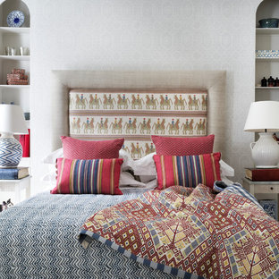 Bedroom - transitional bedroom idea in London with white walls