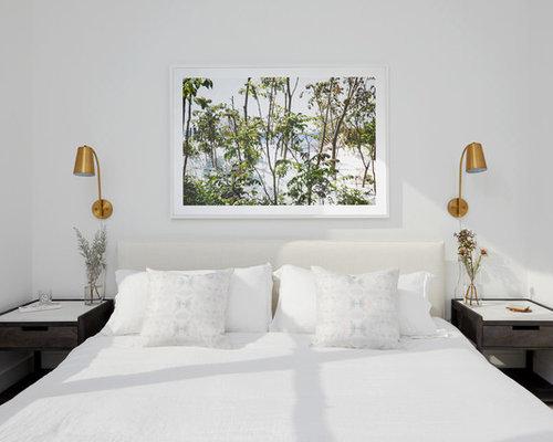 bedroom contemporary master beige floor bedroom idea in new york with white walls - Contemporary Master Bedroom Ideas
