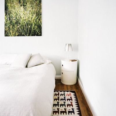 Bedroom - mid-sized modern master medium tone wood floor bedroom idea in New York with white walls and no fireplace
