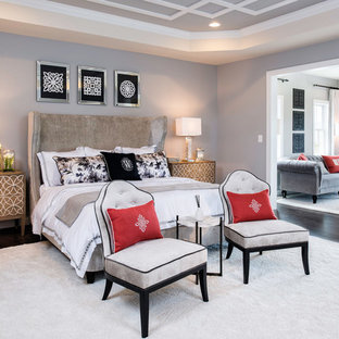 Inspiration for a timeless master dark wood floor bedroom remodel in DC Metro with gray walls and no fireplace