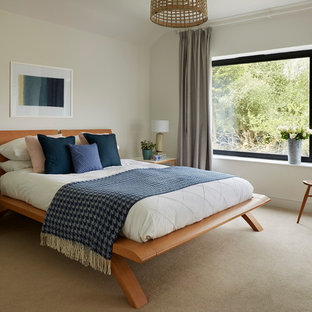 This is an example of a medium sized contemporary master bedroom in Wiltshire with white walls, carpet and no fireplace.