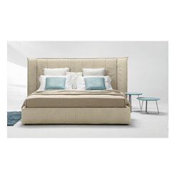 Wind Night Bed - Hardwood frame Headboard in polyurethane with leather cover European wooden slats Storage base available upon request with up-charge