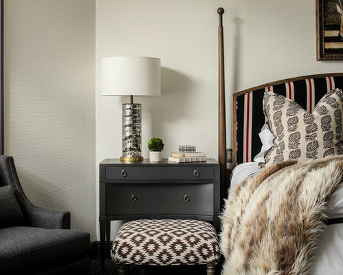 Delightful Example Of A Mountain Style Master Bedroom Design In New York With Beige  Walls