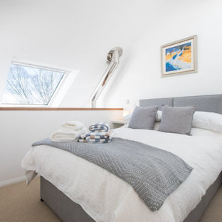 Diseño de dormitorio tipo loft, contemporáneo, pequeño, con paredes blancas, moqueta, estufa de leña, marco de chimenea de piedra y suelo beige
