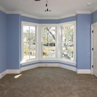 Bedroom - mid-sized traditional guest carpeted and beige floor bedroom idea in Denver with blue walls and no fireplace