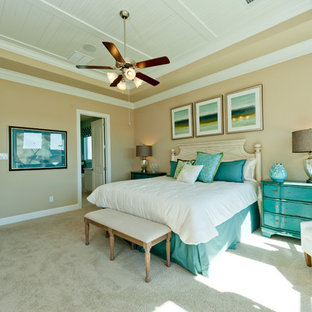 Coastal carpeted bedroom photo in Dallas with beige walls