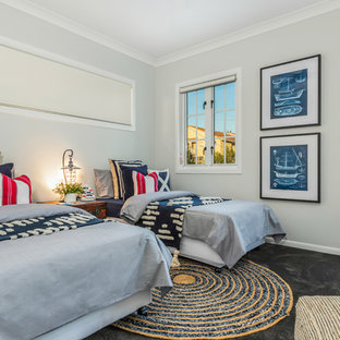 Design ideas for a beach style bedroom in Brisbane.