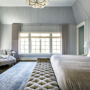 Transitional Master Dark Wood Floor And Brown Floor Bedroom Photo In  Chicago With Gray Walls