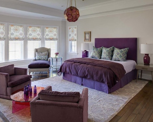 example of a trendy dark wood floor bedroom design in chicago with gray walls - Gray Purple Bedroom