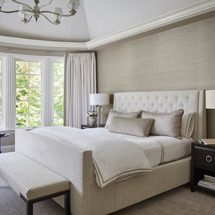 Design ideas for a mid-sized transitional master bedroom in Chicago with beige walls, carpet, no fireplace and grey floor.