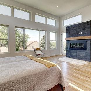 Example of a trendy master light wood floor and beige floor bedroom design in Denver with white walls