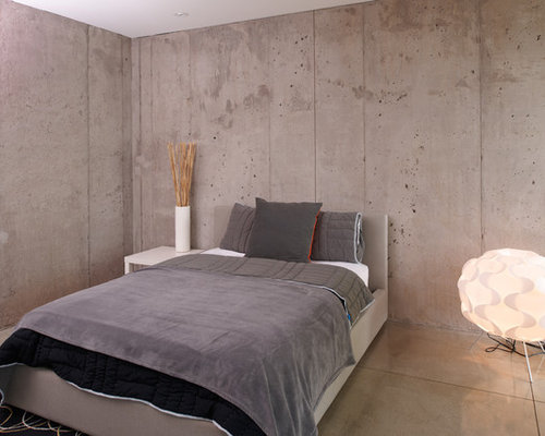Faux concrete wall houzz for Exposed concrete floor