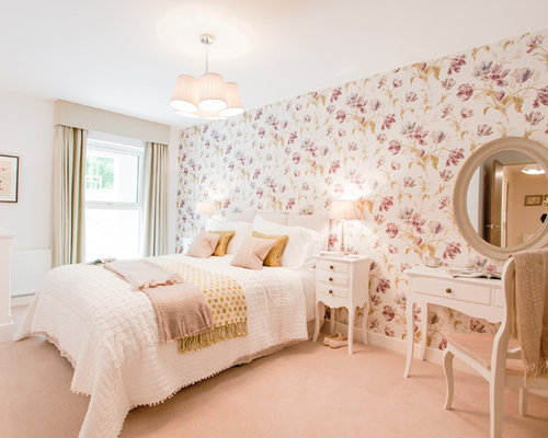 Peach bedroom houzz for Floral bedroom decor