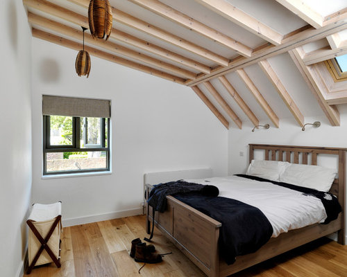loft bedroom designs. photo of a small contemporary guest bedroom in london with white walls and light hardwood flooring loft designs