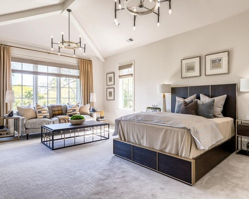 inspiration for a transitional carpeted and gray floor bedroom remodel in nashville with beige walls - Bedroom Decor With Beige Walls