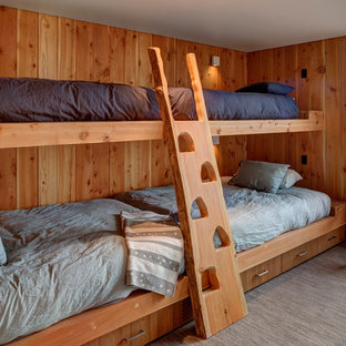 Example of a mountain style guest carpeted bedroom design in Los Angeles