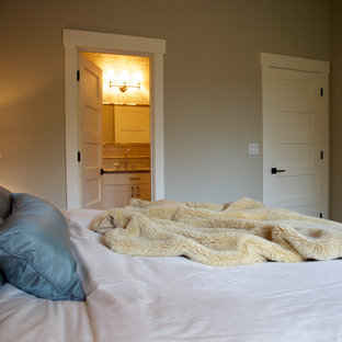 Example of a transitional bedroom design in Seattle