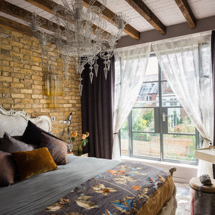 Bedroom - eclectic bedroom idea in London with brown walls