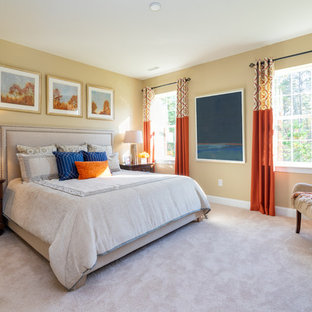 Bedroom - mid-sized traditional master carpeted and beige floor bedroom idea in Philadelphia with yellow walls