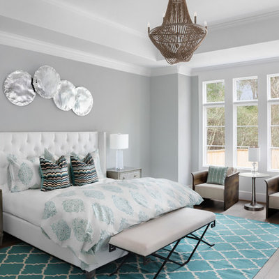 Example of a transitional master dark wood floor bedroom design in Houston with gray walls and no fireplace