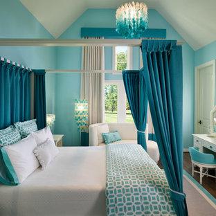 Transitional dark wood floor bedroom photo in Houston with blue walls