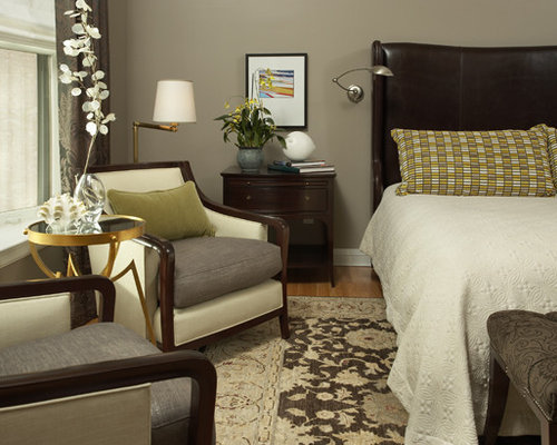 green and grey bedroom. Inspiration for a transitional bedroom remodel in Minneapolis Grey Green Bedroom  Houzz