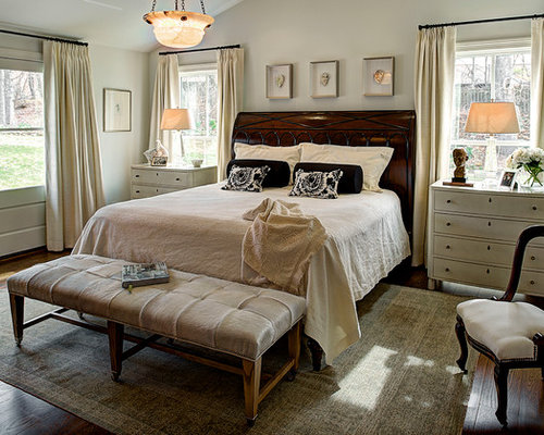 Inspiration for a large timeless master dark wood floor bedroom remodel in  Indianapolis with gray walls