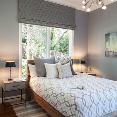 Inspiration for a mid-sized transitional guest dark wood floor and brown floor bedroom remodel in San Francisco with gray walls and no fireplace