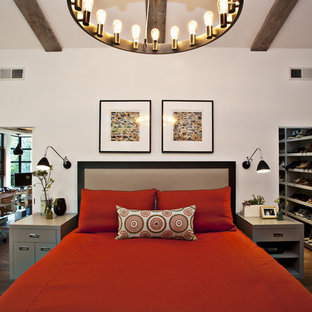 Bedroom   Large Contemporary Dark Wood Floor Bedroom Idea In San Francisco  With White Walls
