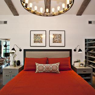 Idées déco pour une grande chambre contemporaine avec un mur blanc et un sol en bois foncé.
