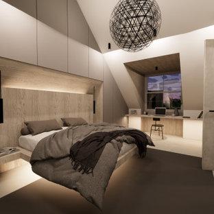 ロンドンの広い北欧スタイルのおしゃれな主寝室 (コンクリートの床、グレーの床、板張り壁) のインテリア