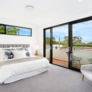 Design ideas for a transitional bedroom in Sydney with white walls, carpet and grey floor.