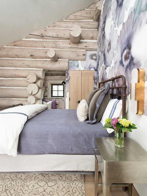 Inspiration for a huge rustic guest carpeted and beige floor bedroom  remodel in Denver with purple. Best 70 Bedroom with Purple Walls Ideas   Remodeling Pictures   Houzz