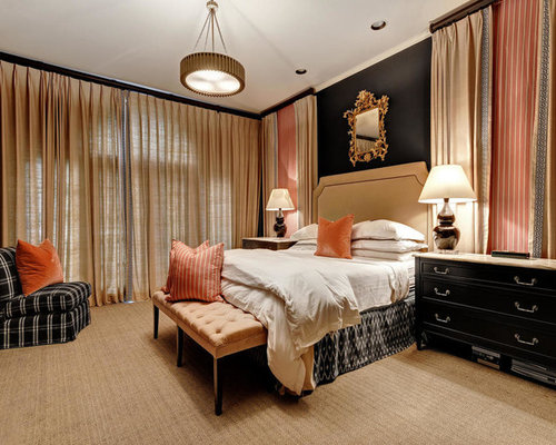 Large Transitional Master Carpeted And Beige Floor Bedroom Photo In Austin