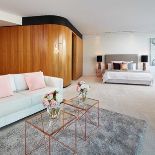 Bedroom - huge contemporary carpeted bedroom idea in Perth with white walls