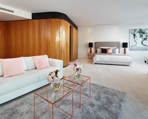 Gold Bedroom Ideas. Bedroom  huge contemporary carpeted bedroom idea in Perth with white walls Rose Gold Ideas And Photos Houzz