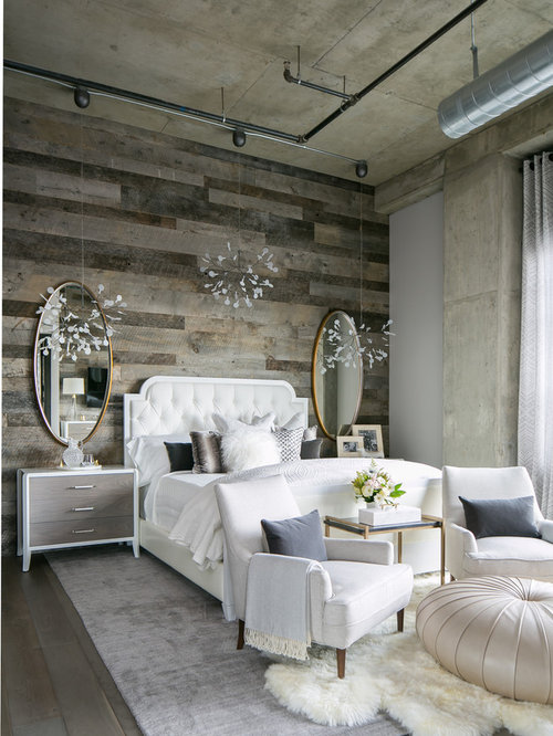 Superb This Is An Example Of A Medium Sized Industrial Master Bedroom In Denver  With No Fireplace Amazing Ideas