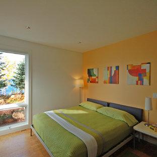 ミネアポリスのコンテンポラリースタイルのおしゃれな客用寝室 (淡色無垢フローリング、オレンジの壁) のレイアウト