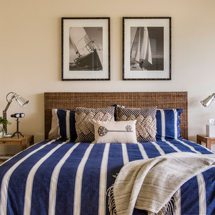 Bedroom - beach style carpeted bedroom idea in Sunshine Coast with beige walls and no fireplace