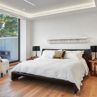 Immagine di una camera da letto bohémian con pareti bianche, parquet chiaro e nessun camino
