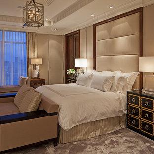 bedroom transitional carpeted bedroom idea in toronto with beige walls - Beige Bedroom