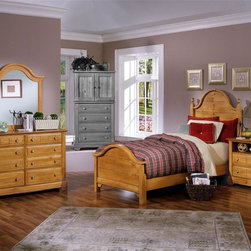 Vaughan Bassett - Youth Panel Bed w Nightstand & Dresser Set in - Choose Bed Size: TwinIncludes double slotted panel bed, nightstand, double dresser and vertical mirror. Pine finish. Assembly required. Nightstand:. 2 Drawers. 1 Open shelf. 28 in. W x 16 in. D x 29 in. H. Double dresser:. 6 Drawers. 52 in. W x 18 in. D x 36 in. H. Vertical mirror: 35 in. L x 2 in. W x 40 in. H. Panel bed:. Twin Size: (double slotted). Includes panel headboard, panel footboard and wood rails with 3 1-inch slats. Headboard and footboard have double slots for height adjustments. Optional trundle unit with face panel. Panel headboard: 41 in. L x 2 in. W x 58 in. H. Panel footboard: 43 in. L x 2.5 in. W x 29 in. H. Full Size: (double slotted). Includes panel headboard, panel footboard and wood rails with 3 1-inch slats. Headboard and footboard have double slots for height adjustments. Optional trundle unit with face panel. Panel headboard: 56.75 in. L x 2 in. W x 62 in. H. Panel footboard: 58.5 in. L x 2.5 in. W x 29 in. H. Wood rails: 76 L x 6 in. W x 1 in. H