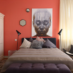 Design ideas for a contemporary bedroom in Moscow with orange walls.