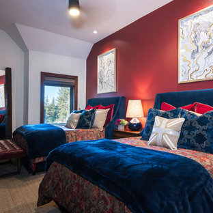 Mid-sized mountain style guest carpeted and gray floor bedroom photo in Other with red walls and no fireplace
