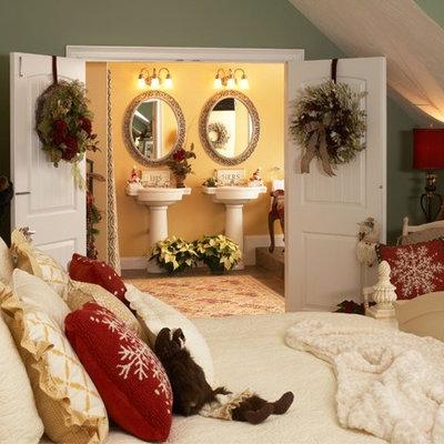 Elegant bedroom photo in Boston with green walls