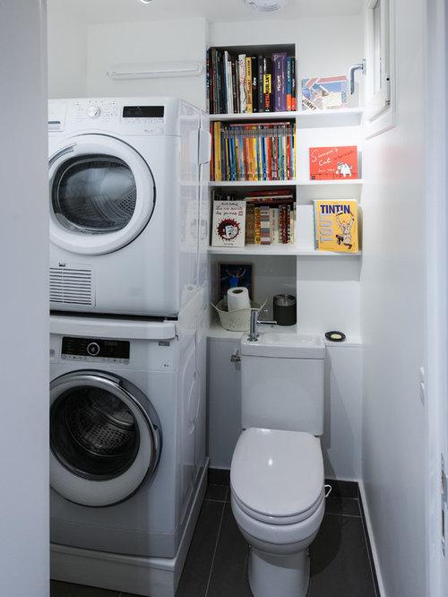 buanderie avec un placard sans porte et un vier int gr photos et id es d co de buanderies. Black Bedroom Furniture Sets. Home Design Ideas
