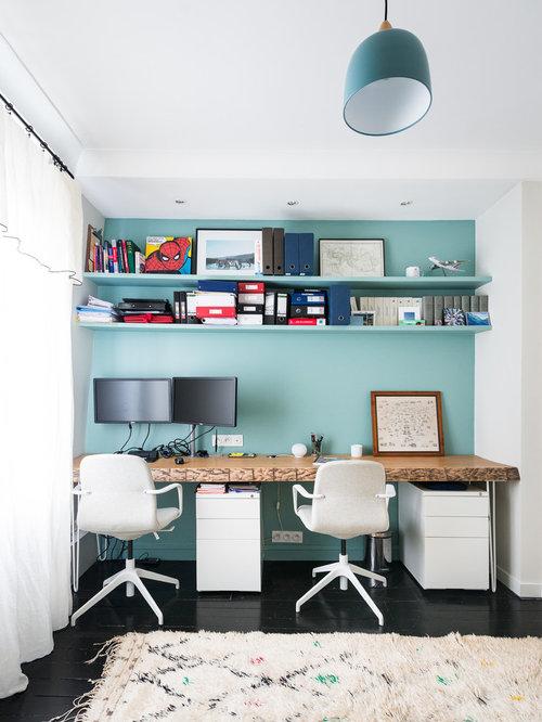 Réalisation dun bureau design de taille moyenne avec un sol en bois peint