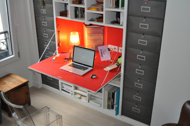 astuce gain de place optez pour un bureau escamotable. Black Bedroom Furniture Sets. Home Design Ideas