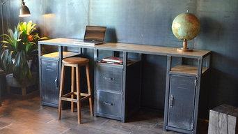 Bureau - Console bois métal style industriel
